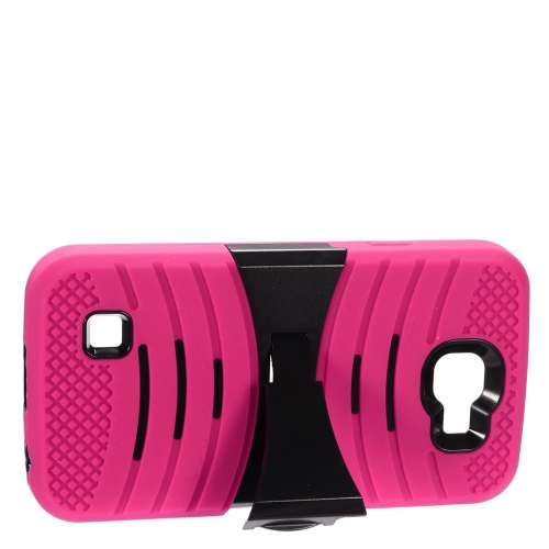 Insten Wave Hybrid Stand Rubber Silicone/PC Case For LG Optimus Zone 3/Spree, Hot Pink/Black