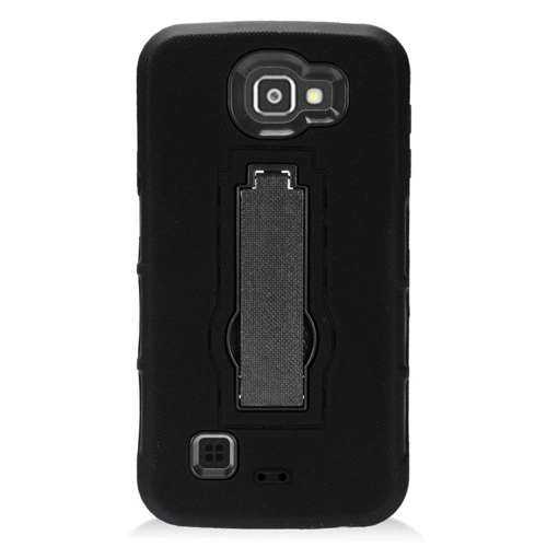 Insten Hybrid Stand Rubber Silicone/PC Case For LG Optimus Zone 3/Spree, Black