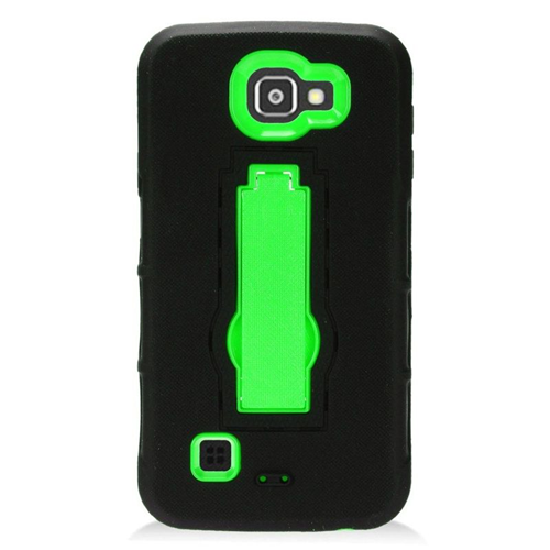 Insten Hybrid Stand Rubber Silicone/PC Case For LG Optimus Zone 3/Spree, Black/Green