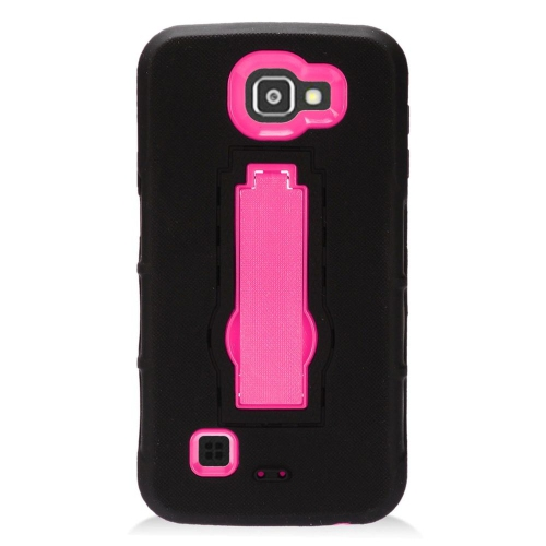 Insten Hybrid Stand Rubber Silicone/PC Case For LG Optimus Zone 3/Spree, Black/Hot Pink