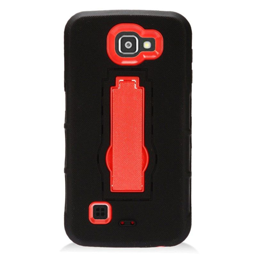 Insten Hybrid Stand Rubber Silicone/PC Case For LG Optimus Zone 3/Spree, Black/Red