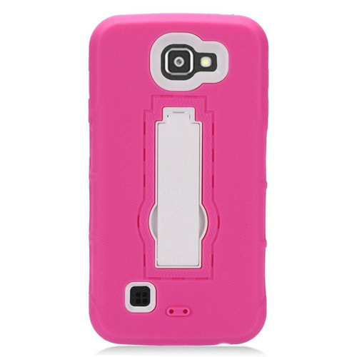 Insten Hybrid Stand Rubber Silicone/PC Case For LG Optimus Zone 3/Spree, Hot Pink/White