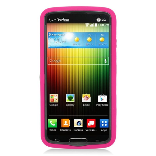 Insten Wave Hybrid Stand Rubber Silicone/PC Case For LG Lucid 3 VS876, Hot Pink/Black