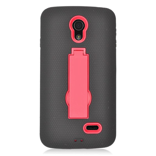 Insten Hybrid Stand Rubber Silicone/PC Case For LG Lucid 3 VS876, Black/Red