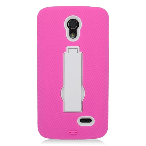 Insten Hybrid Stand Rubber Silicone/PC Case For LG Lucid 3 VS876, Hot Pink/White