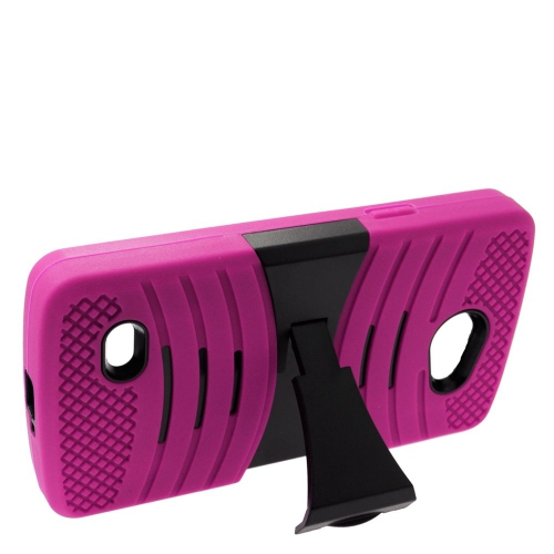 Insten Wave Hybrid Stand Rubber Silicone/PC Case For LG Lancet VW820, Hot Pink/Black