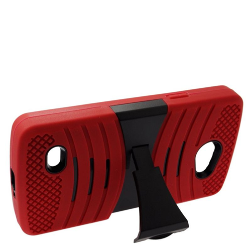 Insten Wave Hybrid Stand Rubber Silicone/PC Case For LG Lancet VW820, Red/Black