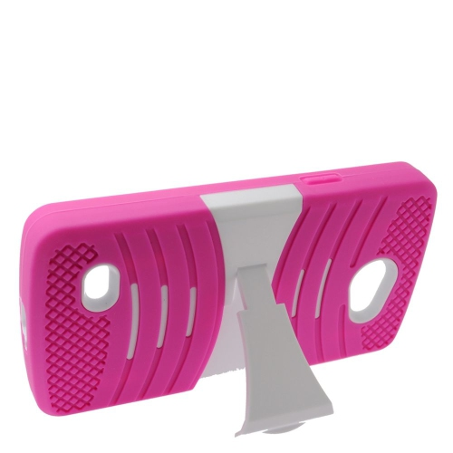 Insten Wave Hybrid Stand Rubber Silicone/PC Case For LG Lancet VW820, Hot Pink/White
