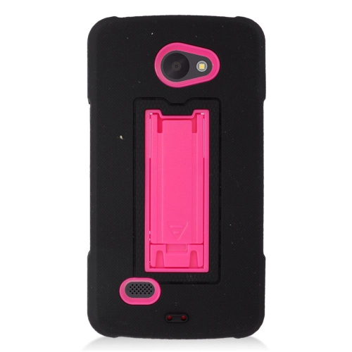 Insten Hybrid Stand Rubber Silicone/PC Case For LG Lancet VW820, Black/Hot Pink