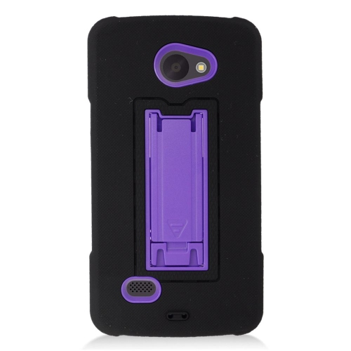 Insten Hybrid Stand Rubber Silicone/PC Case For LG Lancet VW820, Black/Purple