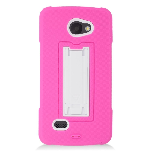 Insten Hybrid Stand Rubber Silicone/PC Case For LG Lancet VW820, Hot Pink/White