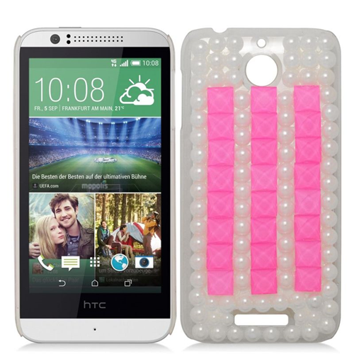 Insten 3D Rhinestone Diamond Bling Hard Snap-in Case For HTC Desire 510, White/Pink