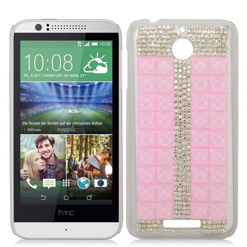 Insten 3D Rhinestone Diamond Bling Hard Snap-in Case For HTC Desire 510, Pink/Silver