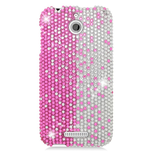 Insten Rhinestone Diamond Bling Hard Snap-in Case Cover Compatible With HTC Desire 510, Pink/Silver