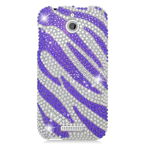 Insten Zebra Rhinestone Diamond Bling Hard Snap-in Case For HTC Desire 510, Purple/Silver
