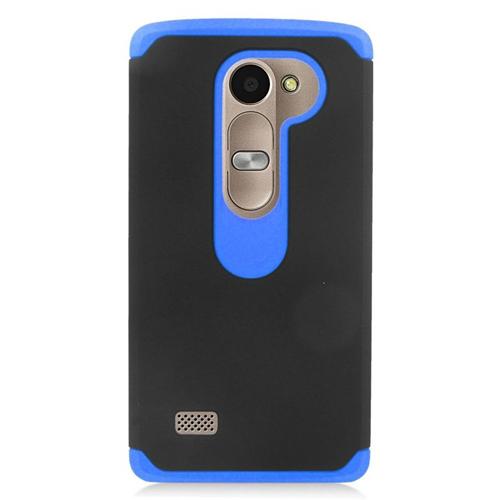 Insten Hybrid Hard Case For LG Destiny/Leon 4G LTE H340N/Power/Risio/Tribute 2, Black/Blue