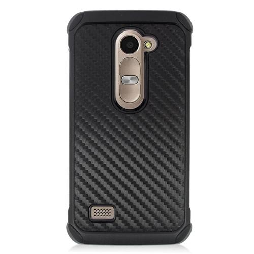 Insten Carbon Fiber Hybrid Hard Case For LG Destiny/Leon 4G LTE H340N/Power/Risio/Tribute 2, Black