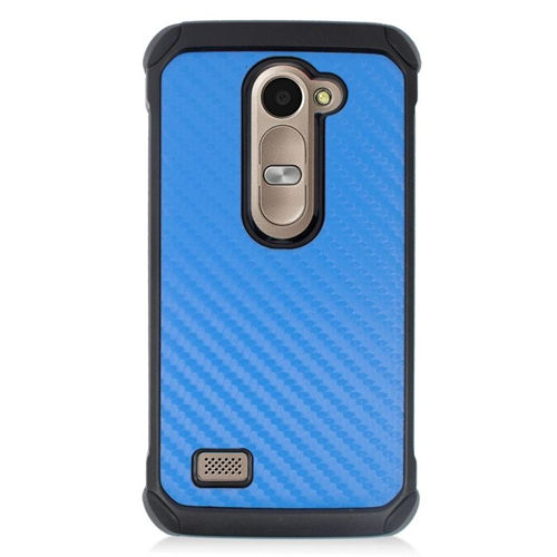 Insten Carbon Fiber Hybrid Hard Case For LG Destiny/Power/Risio/Tribute 2, Blue/Black