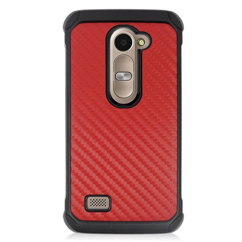 Insten Carbon Fiber Hybrid Hard Case For LG Destiny/Power/Risio/Tribute 2, Red/Black
