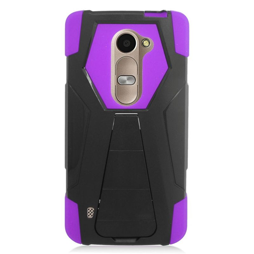 Insten Hybrid PC/Silicone Case For LG Destiny/Leon 4G LTE H340N/Power/Risio/Tribute 2, Black/Purple