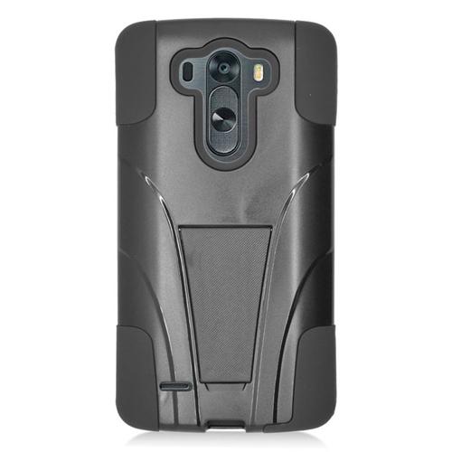 Insten Hybrid Stand PC/Silicone Case For LG G3 Beat/G3 Mini/G3 S LG G3 Vigor, Black