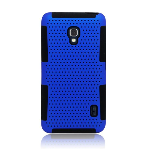 Insten Astronoot Hybrid PC/TPU Rubber Case For LG Optimus F6 MS500, Blue/Black