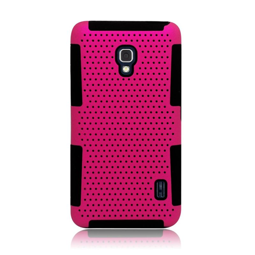 Insten Astronoot Hybrid PC/TPU Rubber Case For LG Optimus F6 MS500, Hot Pink/Black