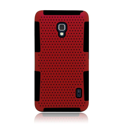 Insten Astronoot Hybrid PC/TPU Rubber Case For LG Optimus F6 MS500, Red/Black