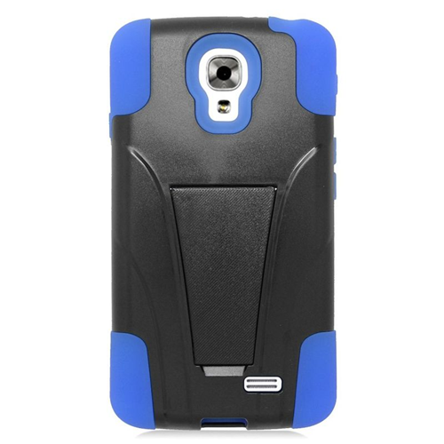 Insten Dual Layer Hybrid Stand PC/Silicone Case Cover Compatible With LG F70 D315, Black/Blue