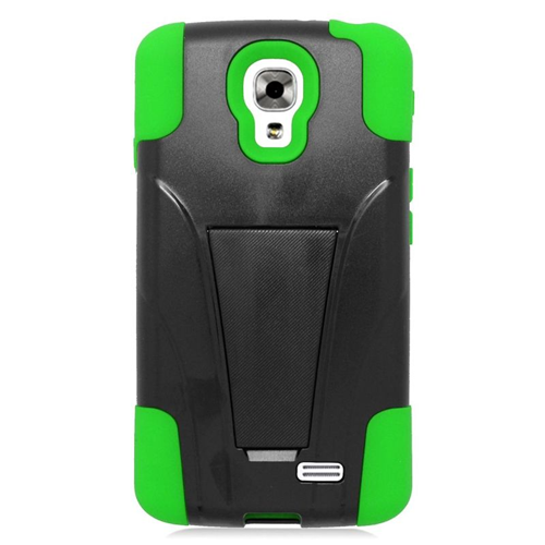 Insten Dual Layer Hybrid Stand PC/Silicone Case Cover Compatible With LG F70 D315, Black/Green