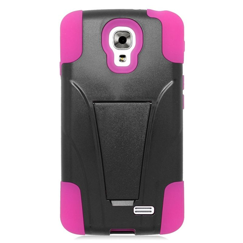Insten Dual Layer Hybrid Stand PC/Silicone Case Cover Compatible With LG F70 D315, Black/Hot Pink
