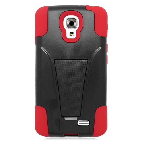 Insten Dual Layer Hybrid Stand PC/Silicone Case Cover Compatible With LG F70 D315, Black/Red