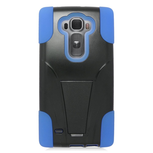 Insten Dual Layer Hybrid Stand PC/Silicone Case Cover Compatible With LG G Flex 2, Black/Blue