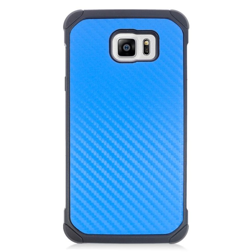 Insten Carbon Fiber Hybrid Rubberized Hard PC/Silicone Case For Samsung Galaxy Note 5, Blue/Black