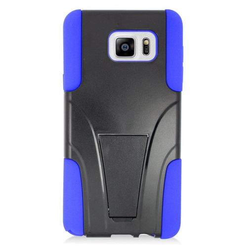Insten Hybrid Stand PC/Silicone Case For Samsung Galaxy Note 5, Black/Blue