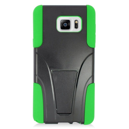 Insten Hybrid Stand PC/Silicone Case For Samsung Galaxy Note 5, Black/Green