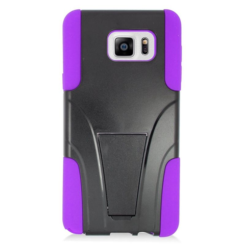 Insten Hybrid Stand PC/Silicone Case For Samsung Galaxy Note 5, Black/Purple