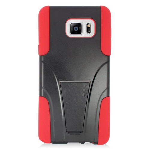 Insten Hybrid Stand PC/Silicone Case For Samsung Galaxy Note 5, Black/Red