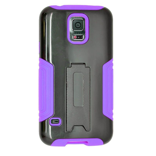 Insten Fitted Soft Shell Case for Samsung Galaxy S5 - Black;Purple
