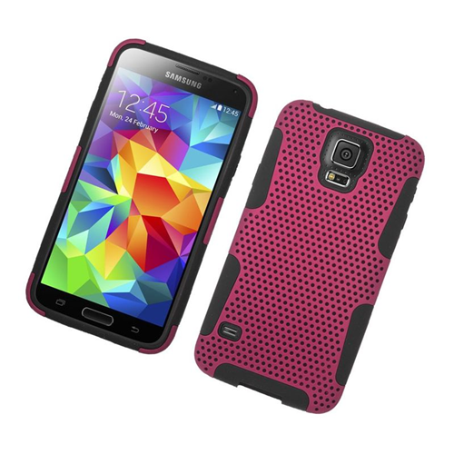 Insten Fitted Soft Shell Case for Samsung Galaxy S5 - Hot Pink;Black