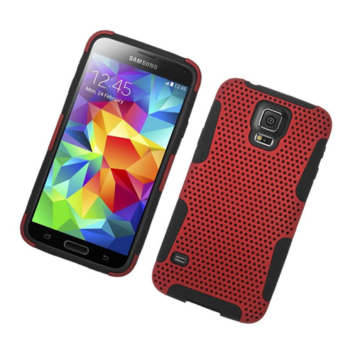 Insten Astronoot Hybrid PC/TPU Rubber Case For Samsung Galaxy S5 SM-G900, Red/Black