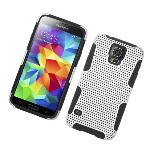 Insten Astronoot Hybrid PC/TPU Rubber Case For Samsung Galaxy S5 SM-G900, White/Black