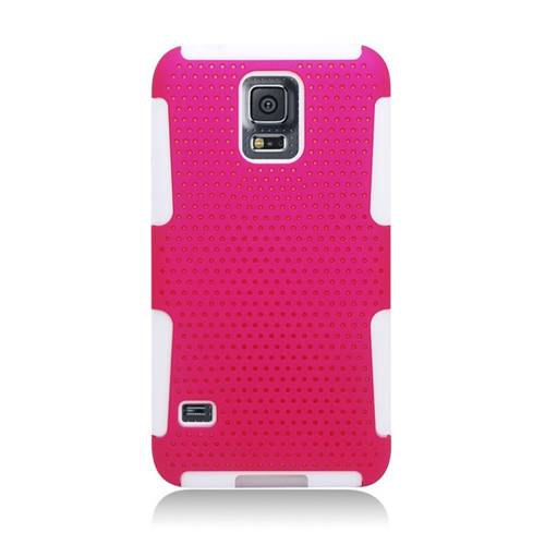 Insten Astronoot Hybrid PC/TPU Rubber Case For Samsung Galaxy S5 SM-G900, Hot Pink/White