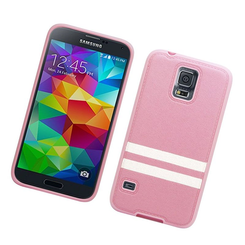 Insten Leather Case Cover Compatible With Samsung Galaxy S5 SM-G900, Pink/White