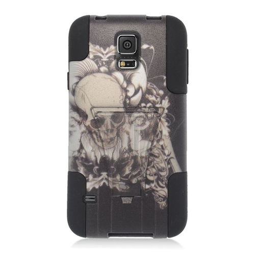 Insten Skull with Angel Hybrid Stand PC/Silicone Case For Samsung Galaxy S5 SM-G900, Black/White