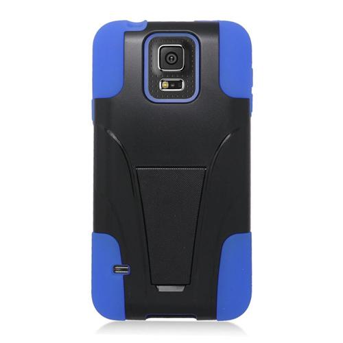 Insten Hybrid Stand PC/Silicone Case For Samsung Galaxy S5 SM-G900, Black/Blue
