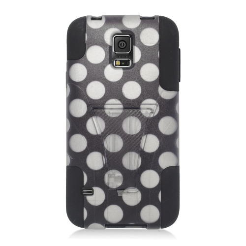 Insten Polka Dots Hybrid Stand PC/Silicone Case For Samsung Galaxy S5 SM-G900, Black/White
