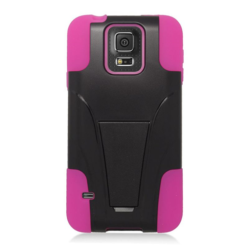 Insten Hybrid Stand PC/Silicone Case For Samsung Galaxy S5 SM-G900, Black/Hot Pink