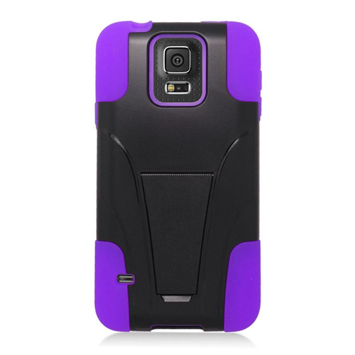 Insten Hybrid Stand PC/Silicone Case For Samsung Galaxy S5 SM-G900, Black/Purple