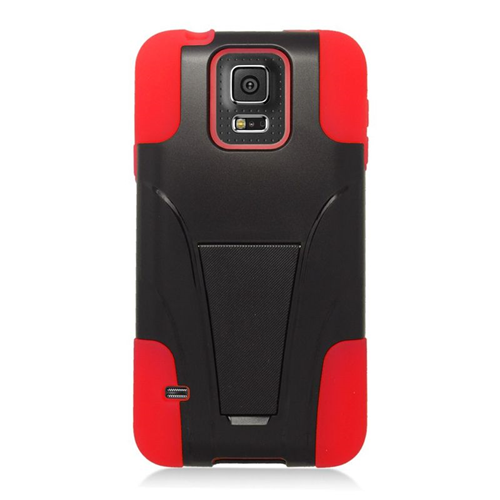 Insten Hybrid Stand PC/Silicone Case For Samsung Galaxy S5 SM-G900, Black/Red